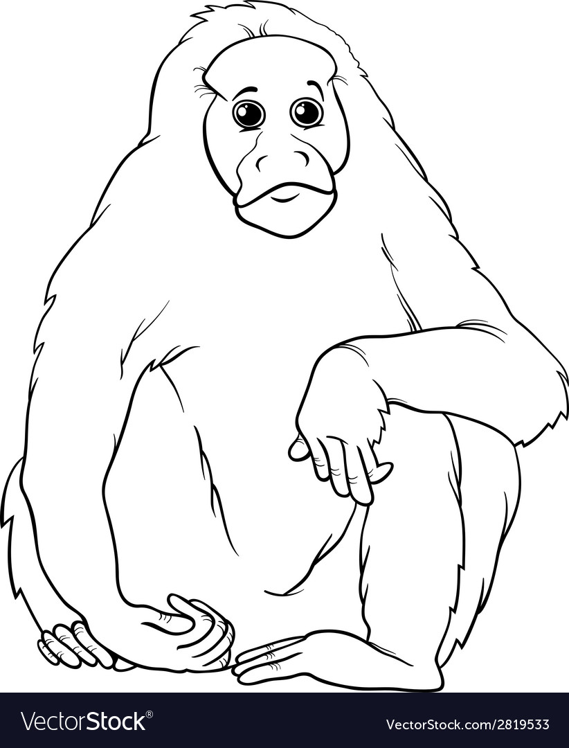 Uakari animal cartoon coloring page vector | Price: 1 Credit (USD $1)