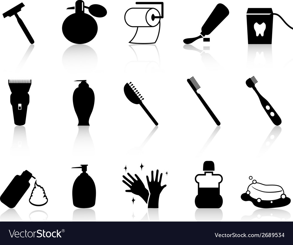 Black bathroom accessories icon set vector | Price: 1 Credit (USD $1)