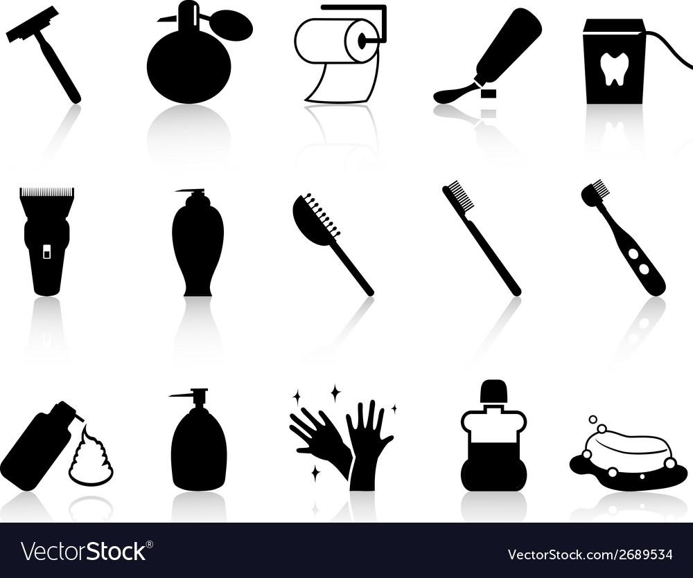 Black bathroom accessories icon set vector | Price: 1 Credit (USD $1)
