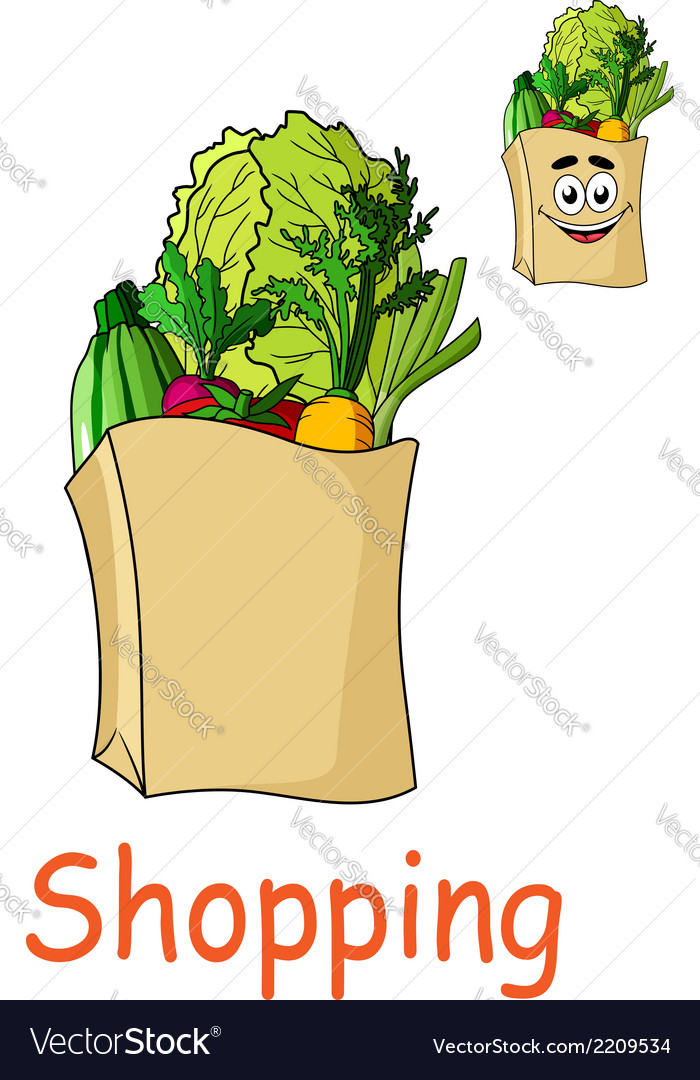 Brown shopping bag with fresh groceries vector | Price: 1 Credit (USD $1)