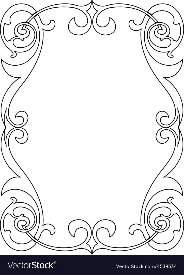 Calligraphy penmanship curly baroque frame black vector   Price: 1 Credit (USD $1)