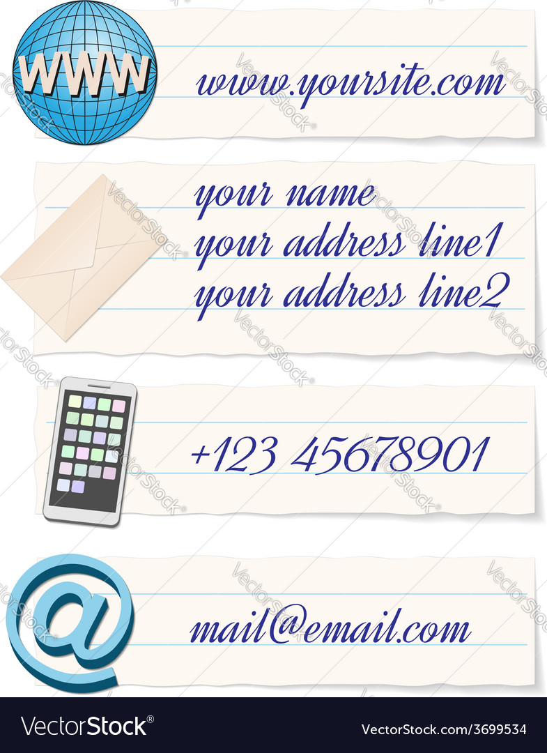 Contact info template vector