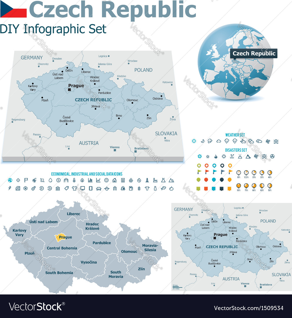 Czech republic maps with markers vector   Price: 3 Credit (USD $3)