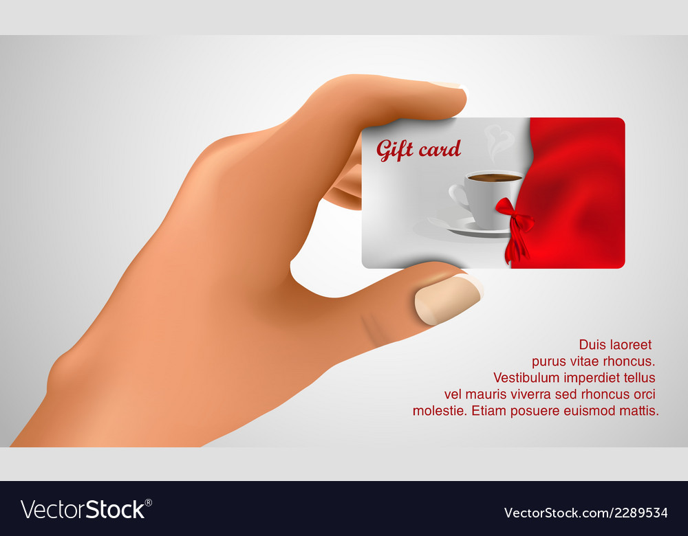 Gift card in hand vector | Price: 1 Credit (USD $1)