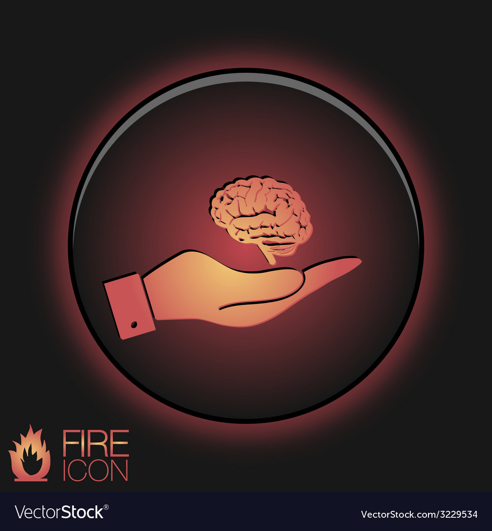Hand holding a brain mind and science vector   Price: 1 Credit (USD $1)