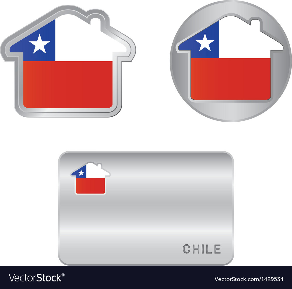 Home icon on the chile flag vector | Price: 1 Credit (USD $1)