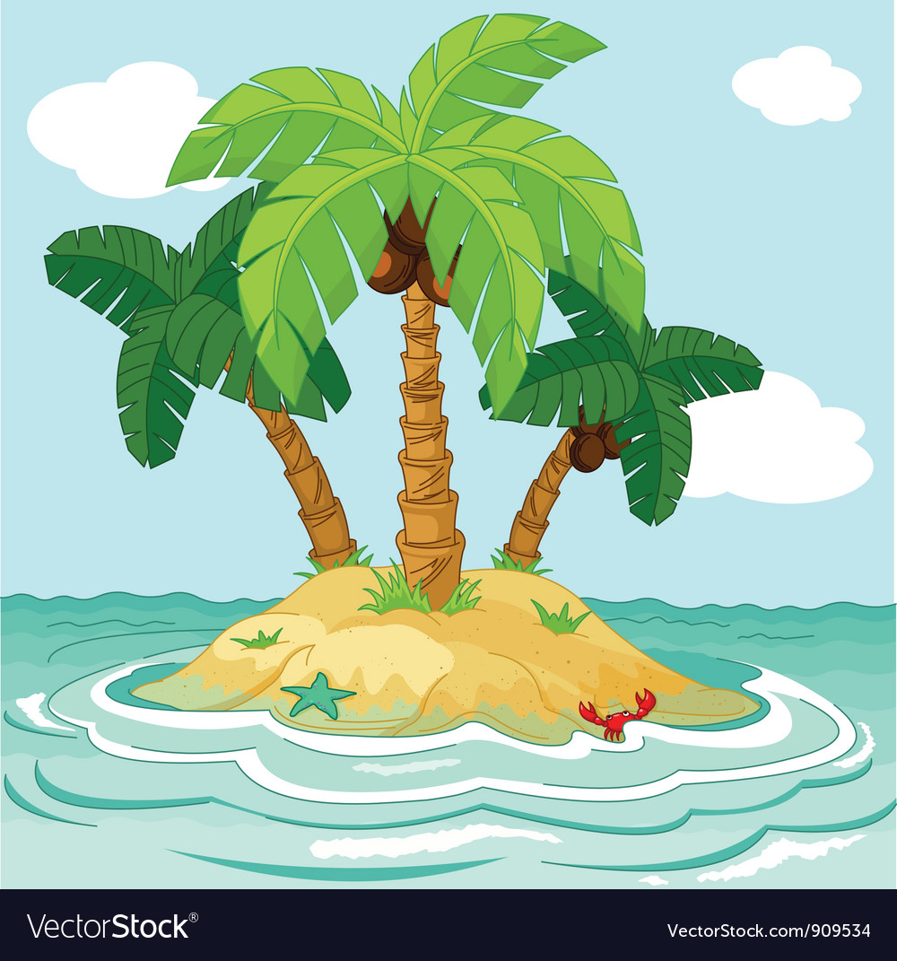 Palm trees on desert island vector | Price: 3 Credit (USD $3)