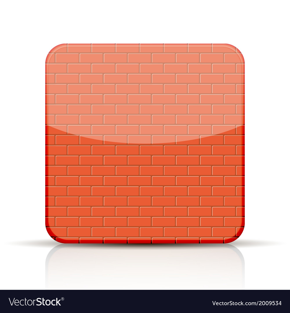 Red brick app icon on white background vector | Price: 1 Credit (USD $1)