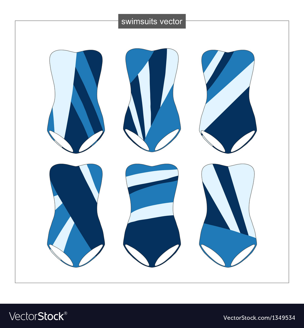 Set of sketches swimwear with an abstract pattern vector | Price: 1 Credit (USD $1)