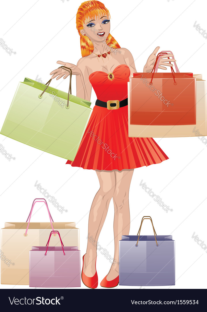 Shopping girl with red hair vector | Price: 1 Credit (USD $1)