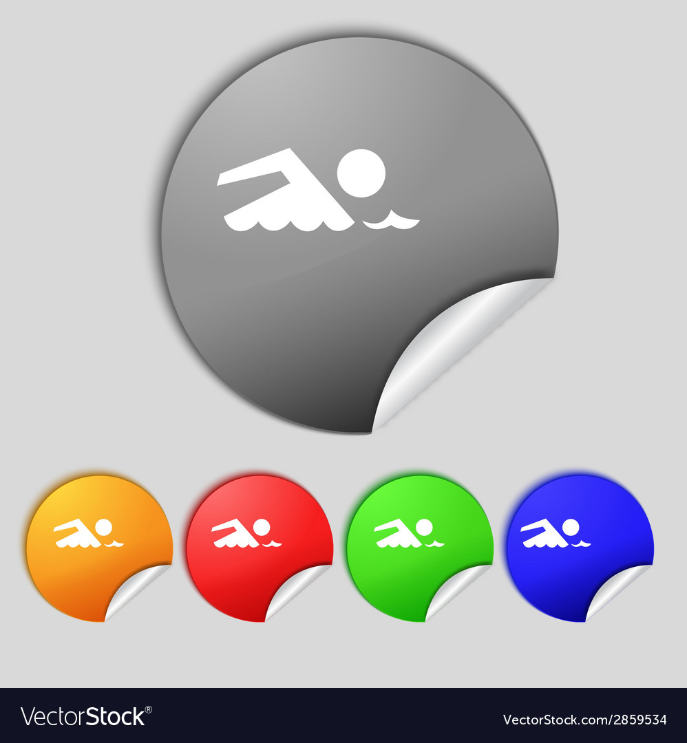 Swimming sign icon pool swim symbol sea wave set vector | Price: 1 Credit (USD $1)