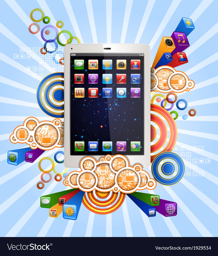 Tablet in clouds vector | Price: 1 Credit (USD $1)
