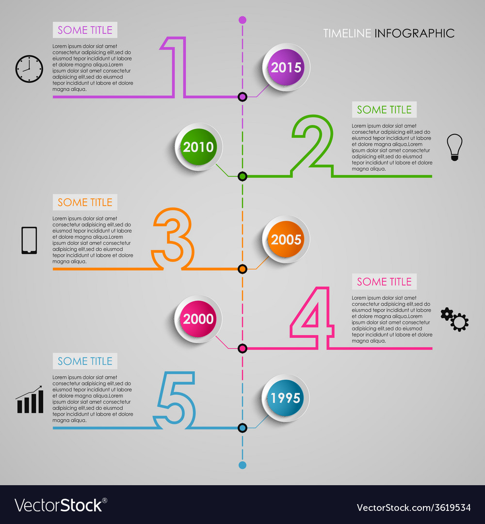 Time line info graphic colored number design vector | Price: 1 Credit (USD $1)