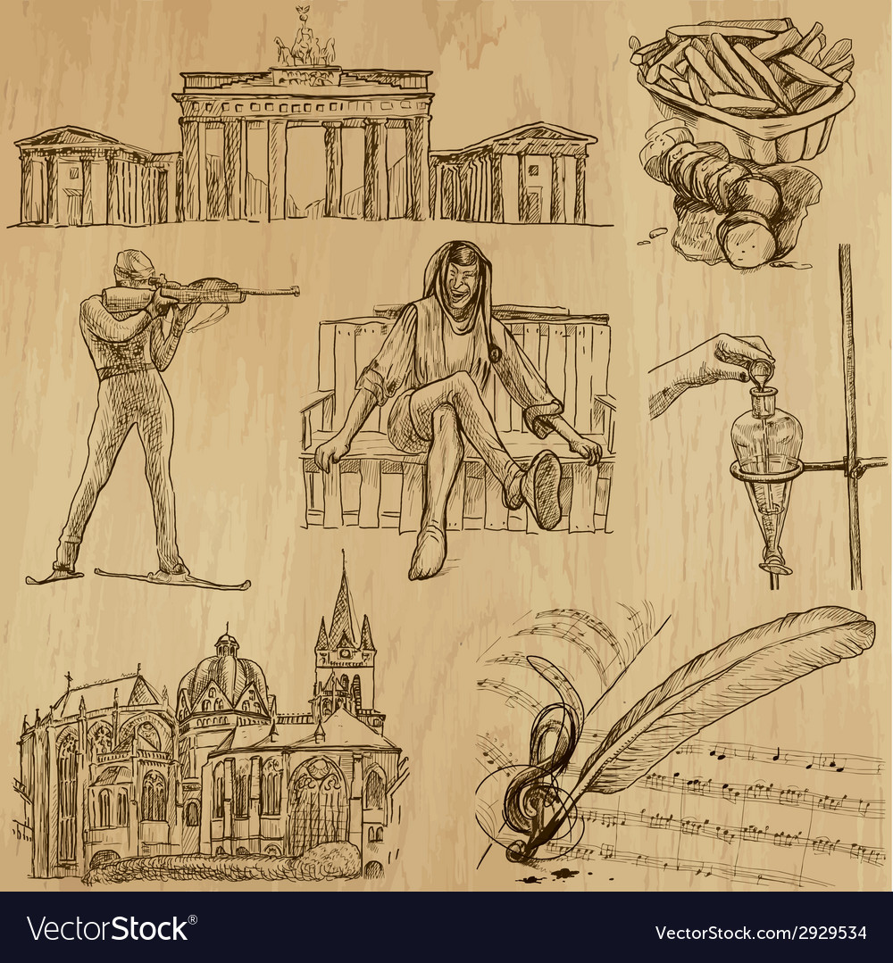 Traveling germany - an hand drawn pack vector | Price: 1 Credit (USD $1)