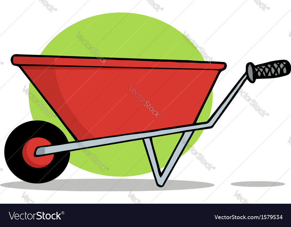 Wheel barrow cartoon vector | Price: 1 Credit (USD $1)