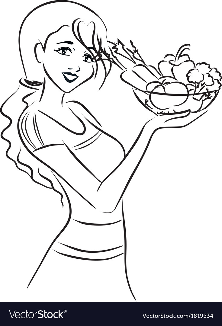 Woman and healthy dish with vegetables vector | Price: 1 Credit (USD $1)