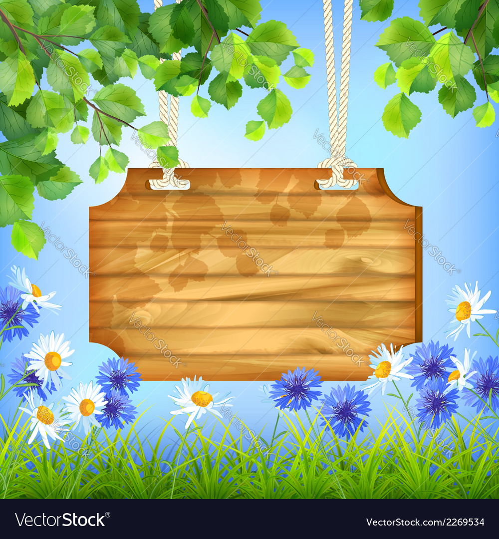 Wooden sign board summer day natural background vector | Price: 1 Credit (USD $1)