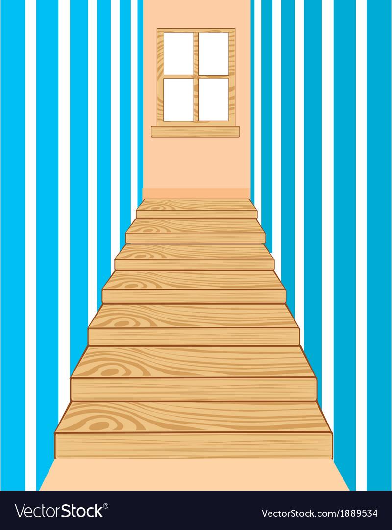 Wooden stairway in corridor vector | Price: 1 Credit (USD $1)