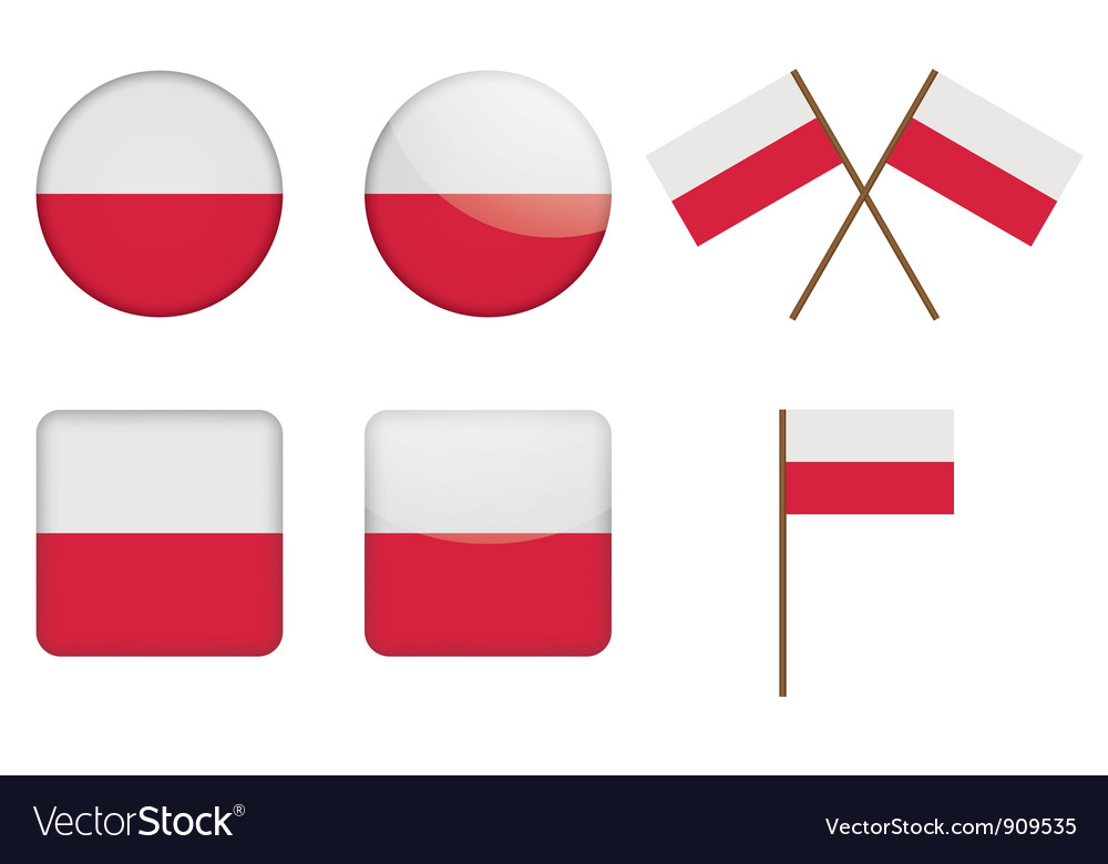 Badges with flag of poland vector | Price: 1 Credit (USD $1)
