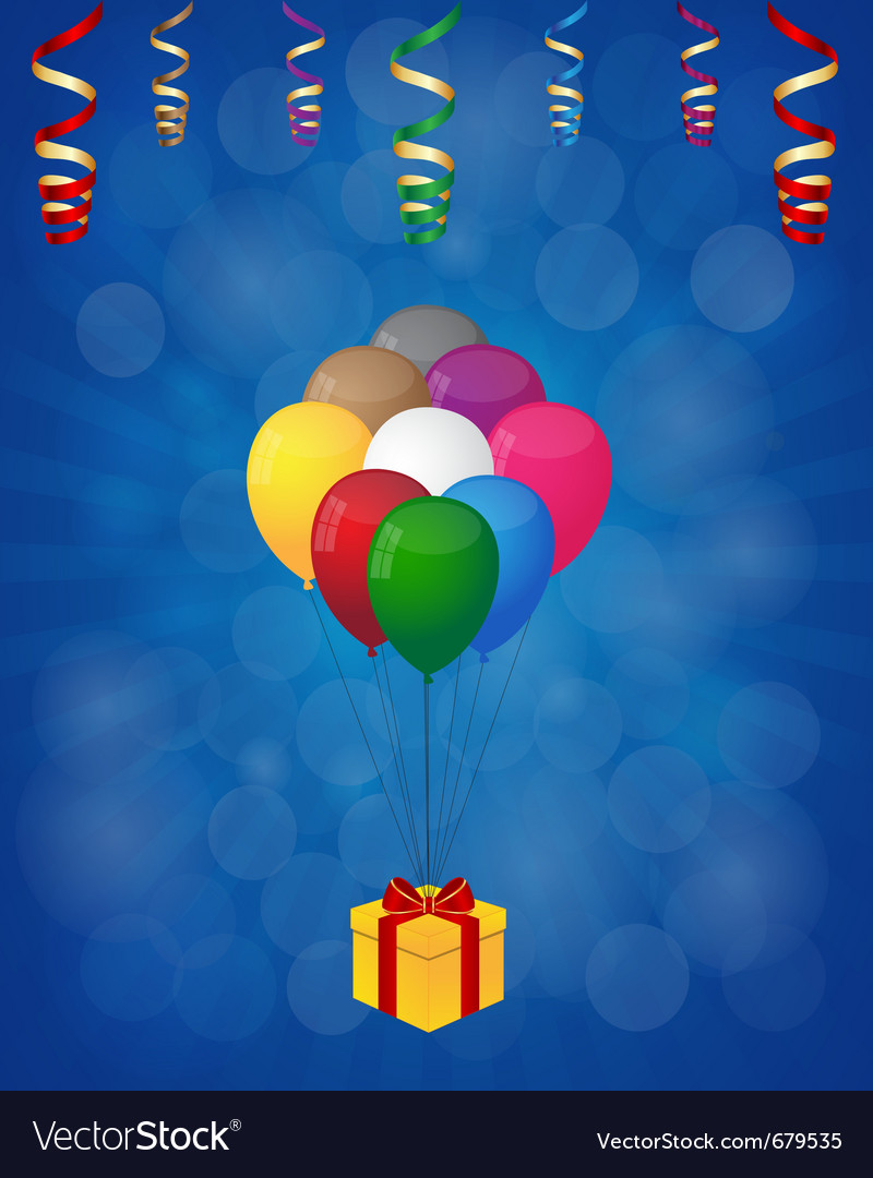 Balloons and gift box vector | Price: 1 Credit (USD $1)