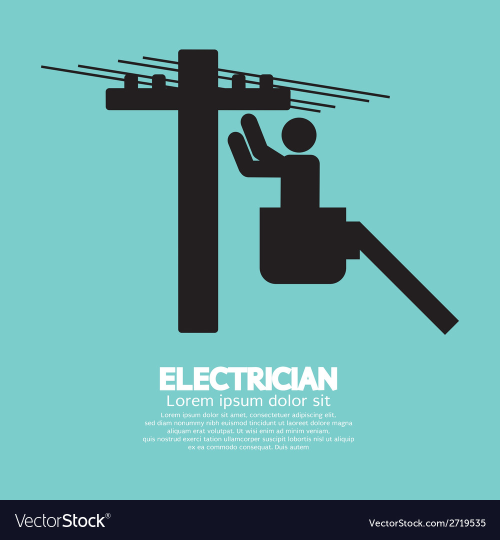 Electrician black sign vector | Price: 1 Credit (USD $1)
