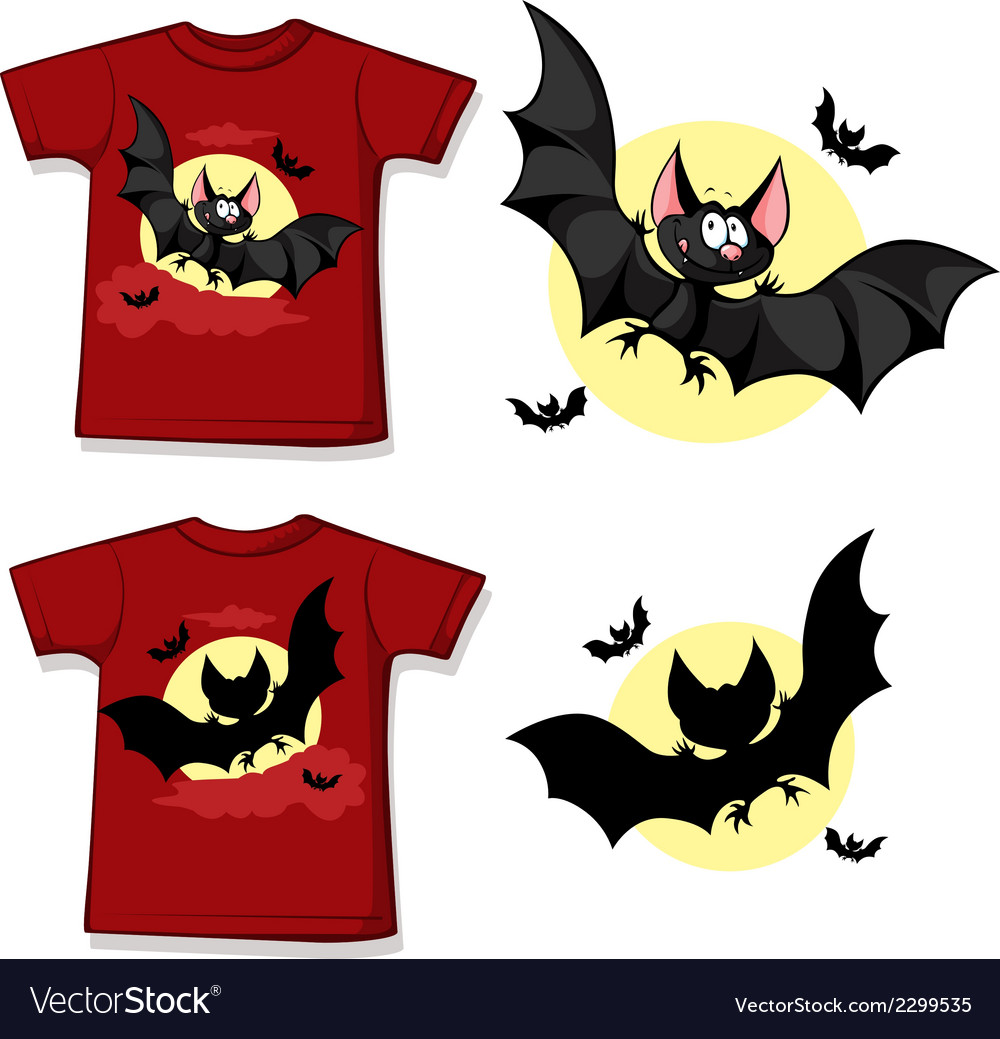 Kid shirt with cute vampire printed - isolated on vector | Price: 1 Credit (USD $1)
