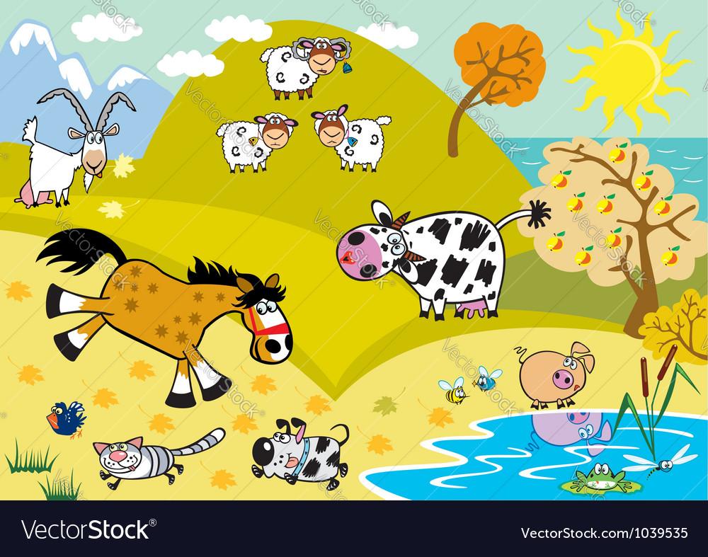 Landscape with childish farm animals autumn season vector | Price: 1 Credit (USD $1)