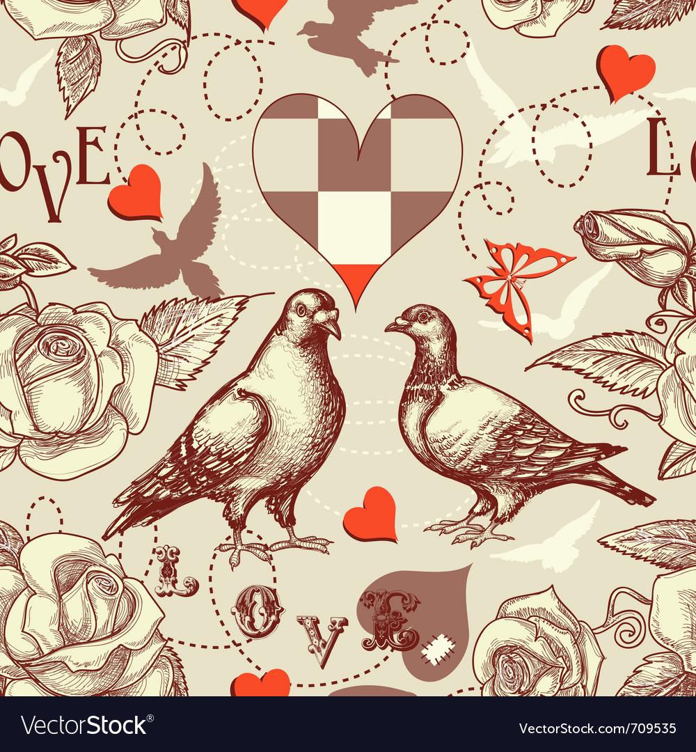 Love birds seamless pattern vector | Price: 1 Credit (USD $1)