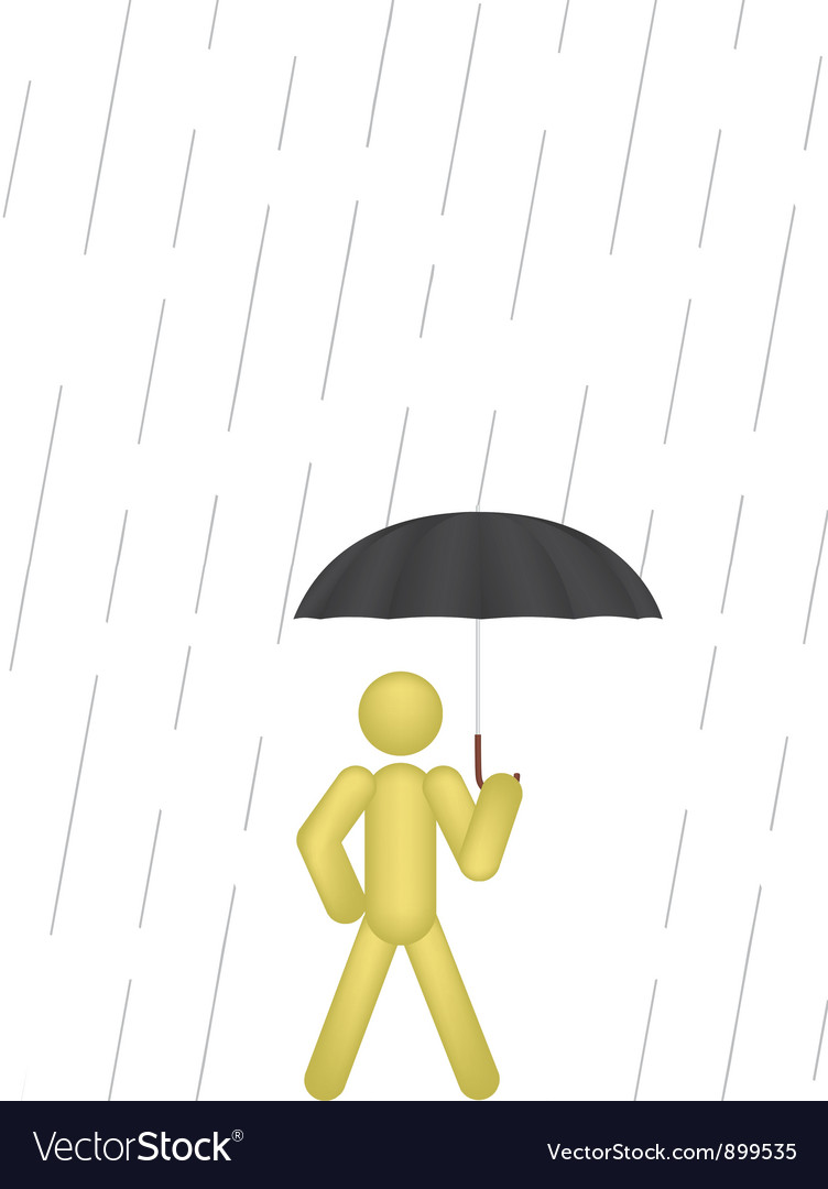 Man with umbrella vector | Price: 1 Credit (USD $1)