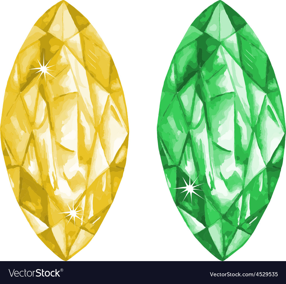 Marquis cut watercolour gems set vector | Price: 1 Credit (USD $1)