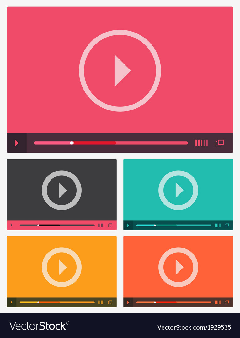 Modern flat video player interface vector | Price: 1 Credit (USD $1)