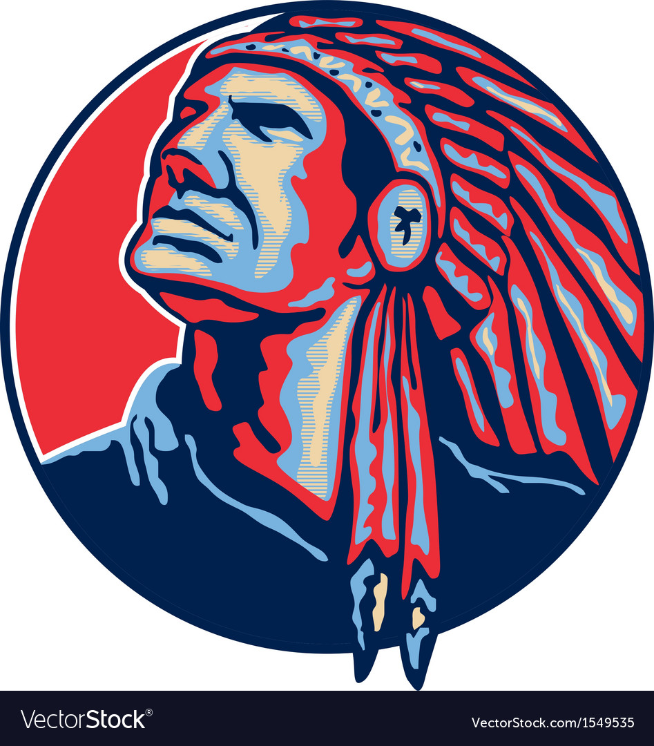 Native american indian chief retro vector | Price: 1 Credit (USD $1)