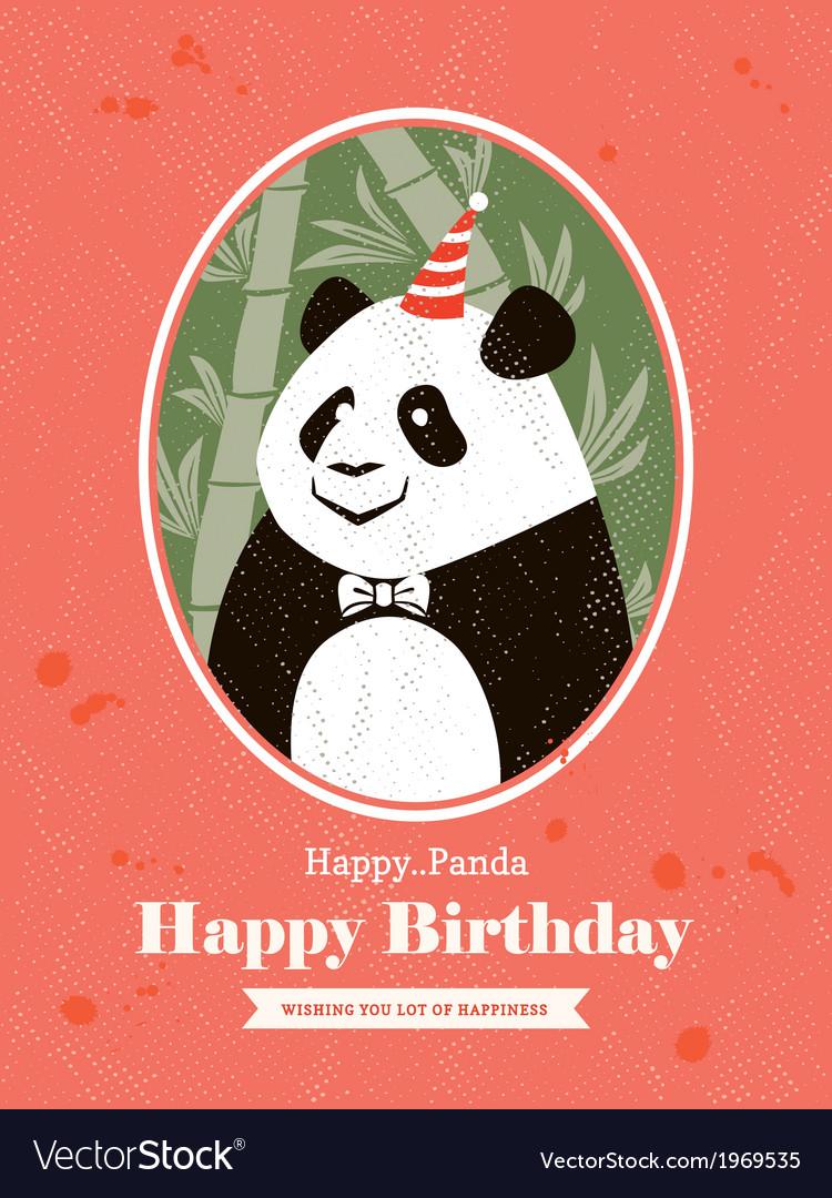Panda animal cartoon birthday card design vector | Price: 1 Credit (USD $1)