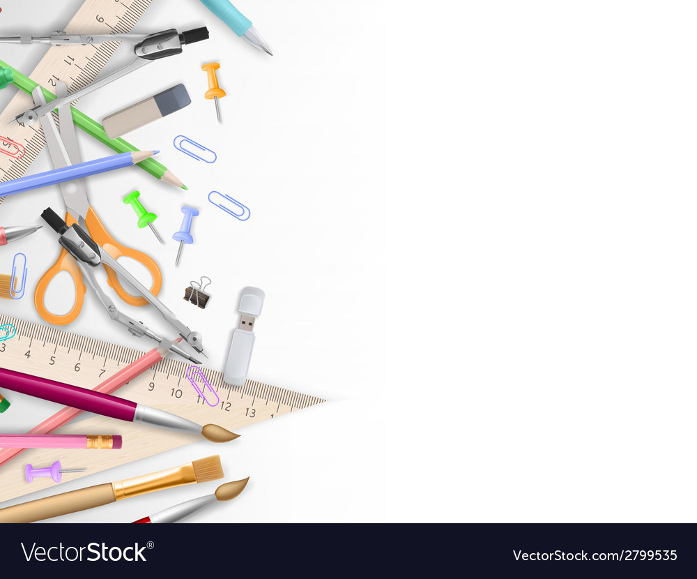 School supplies on white with copyspace eps 10 vector   Price: 1 Credit (USD $1)