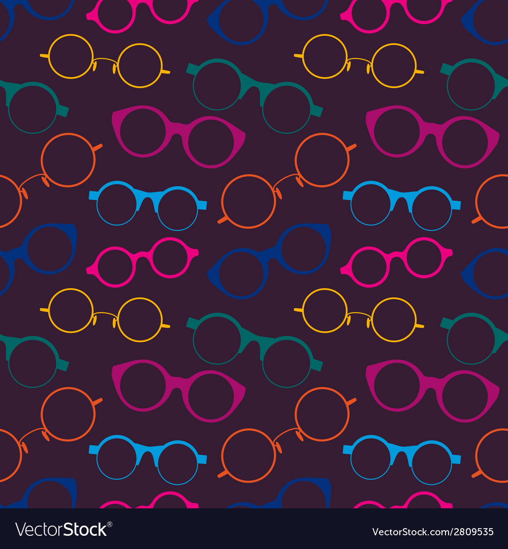 Seamless pattern with colorful retro glasses vector | Price: 1 Credit (USD $1)