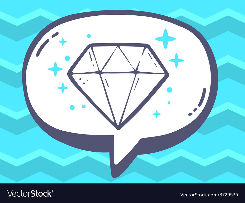 Speech bubble with icon of diamond on blu vector   Price: 1 Credit (USD $1)