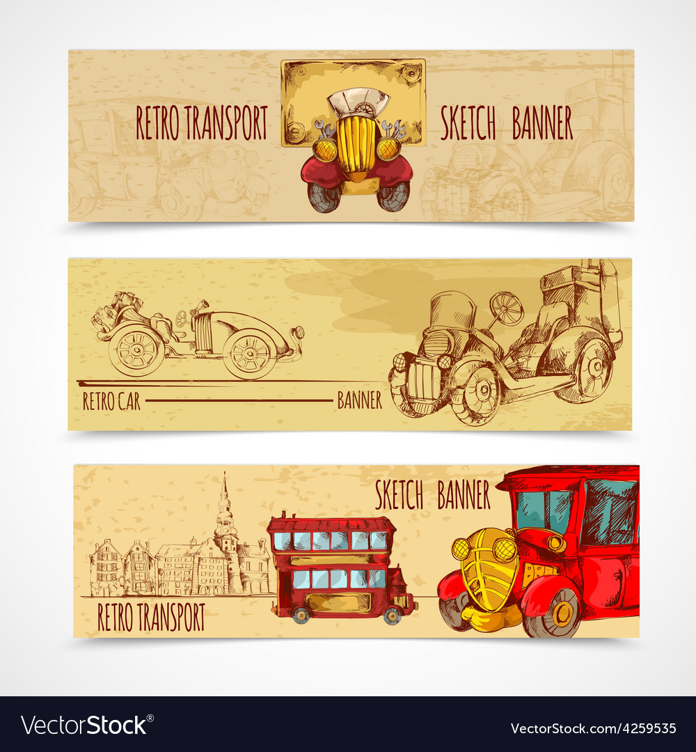 Vintage transport banners vector | Price: 1 Credit (USD $1)