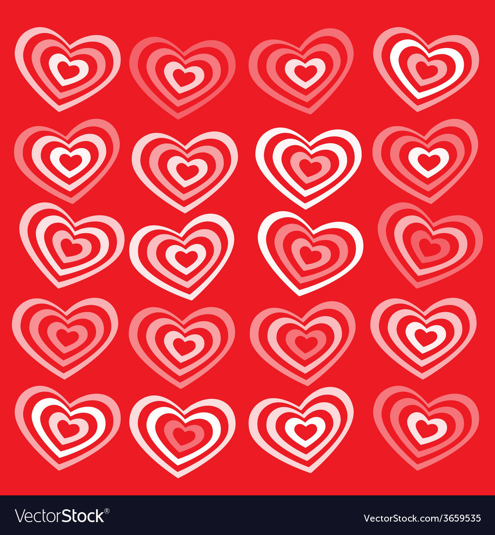 White striped heart on red background valentines vector | Price: 1 Credit (USD $1)