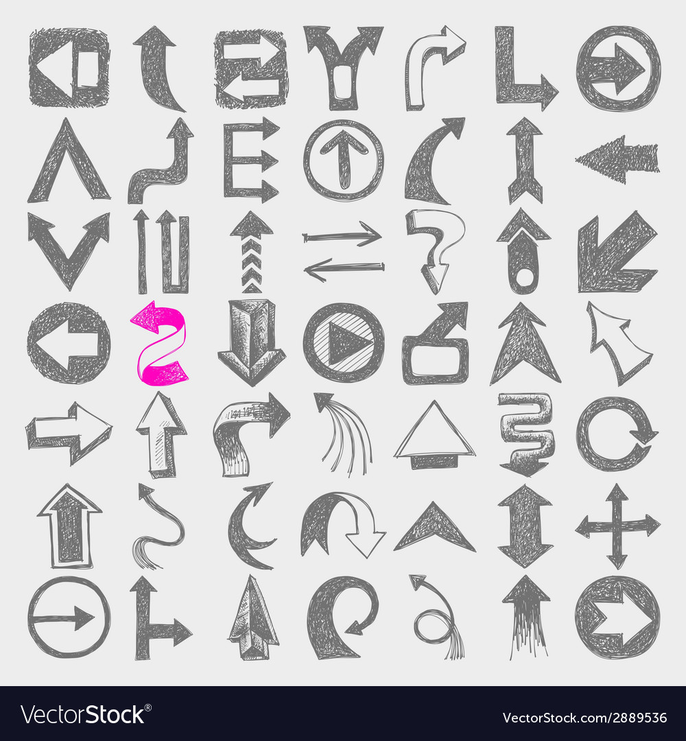 49 hand draw sketch arrow element vector | Price: 1 Credit (USD $1)