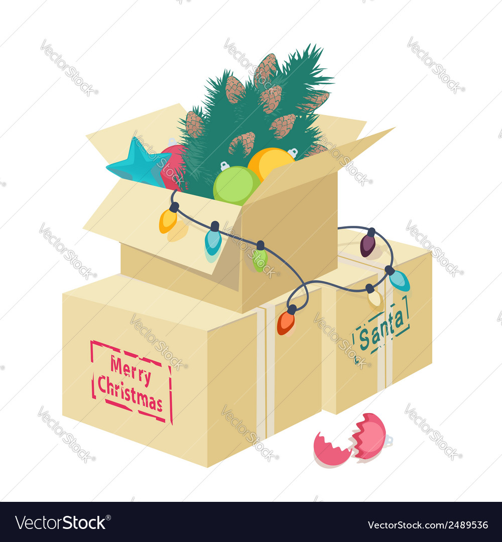 Cardboard box with christmas decorations vector | Price: 1 Credit (USD $1)