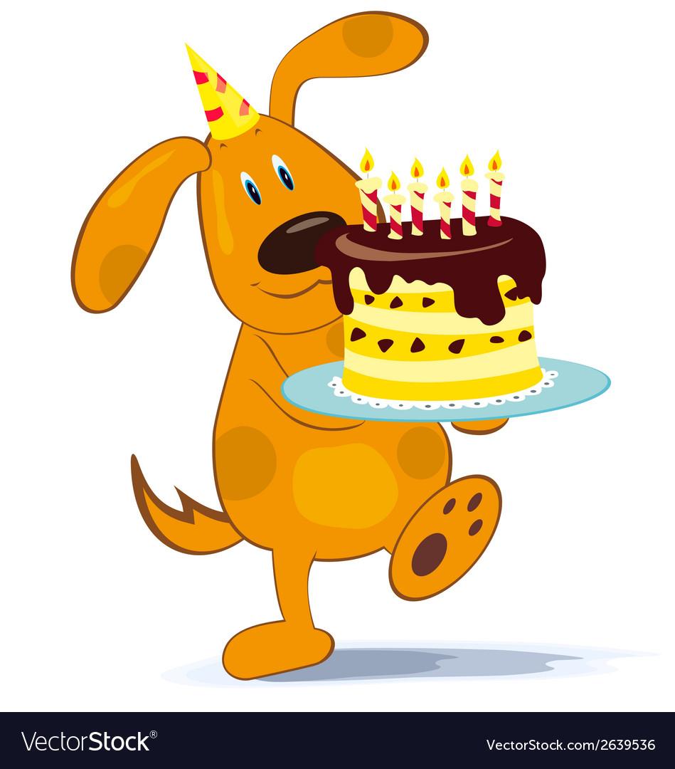 Cartoon dog with cake vector   Price: 1 Credit (USD $1)