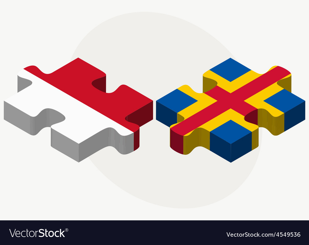 Indonesia and aaland islands flags in puzzle vector | Price: 1 Credit (USD $1)