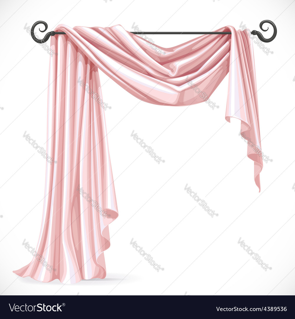Pink asymmetric curtains on the ledge forged vector | Price: 3 Credit (USD $3)