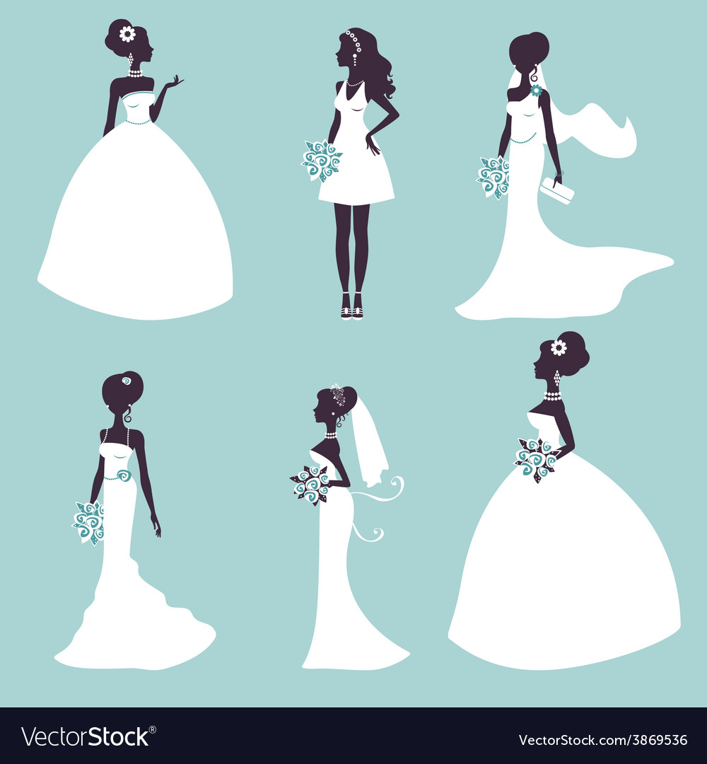 Set of elegant brides in silhouette vector | Price: 1 Credit (USD $1)