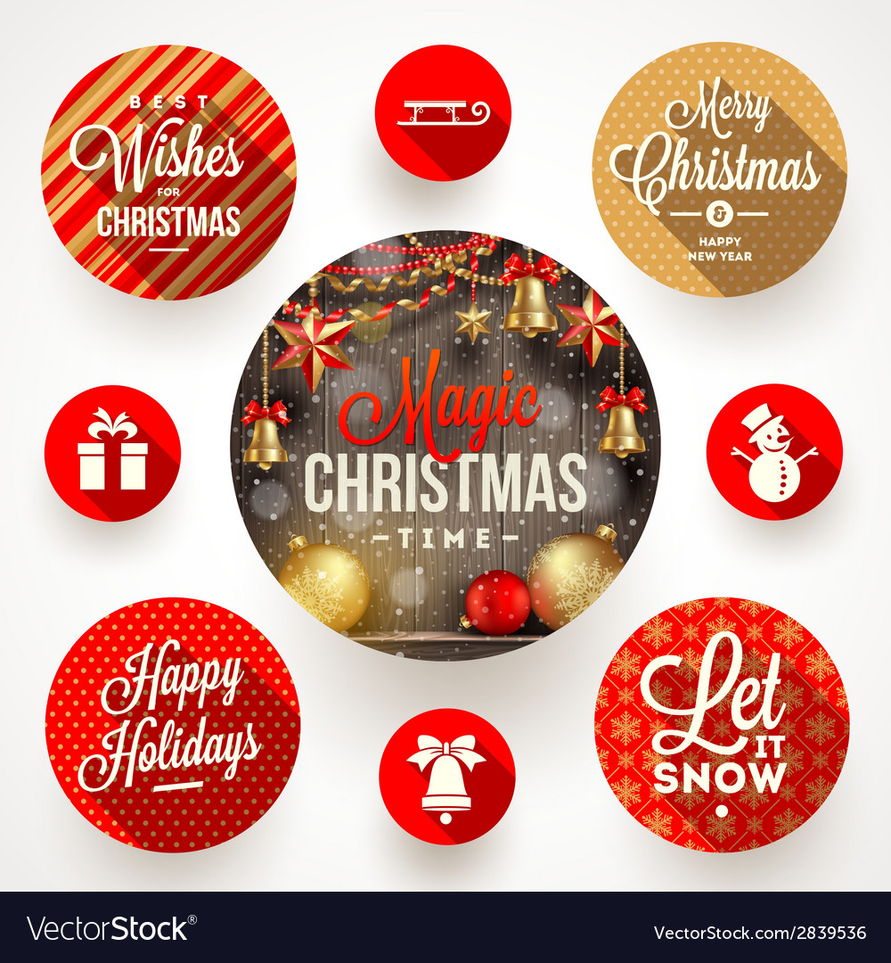 Set of round frames with christmas greetings and vector | Price: 1 Credit (USD $1)