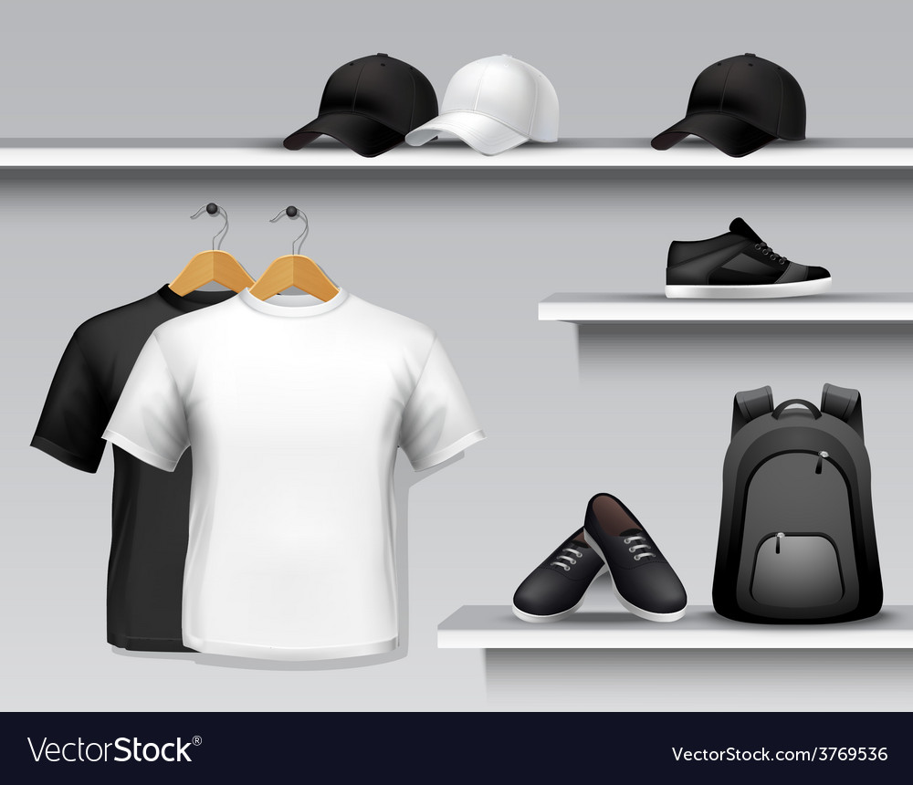 Sportswear store shelf vector | Price: 1 Credit (USD $1)
