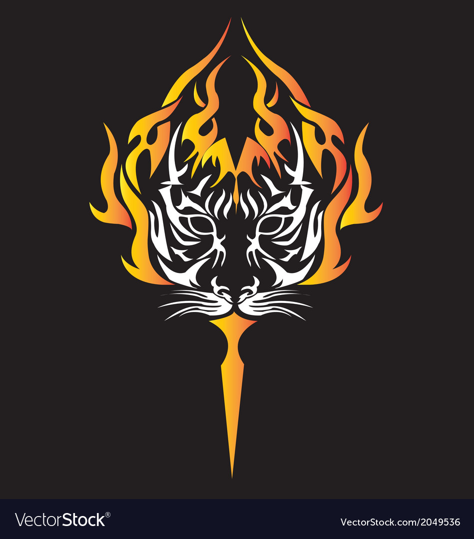 Tiger with tiger tattoo design vector | Price: 1 Credit (USD $1)