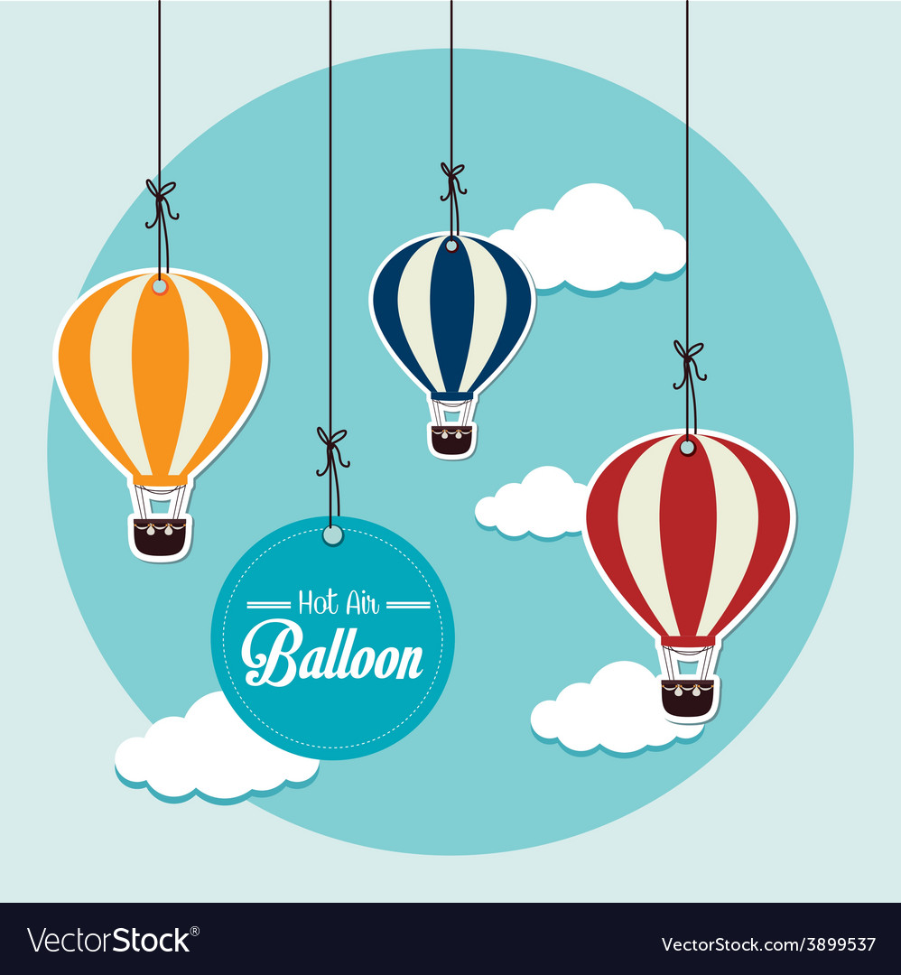 Air balloon over blue background vector | Price: 1 Credit (USD $1)