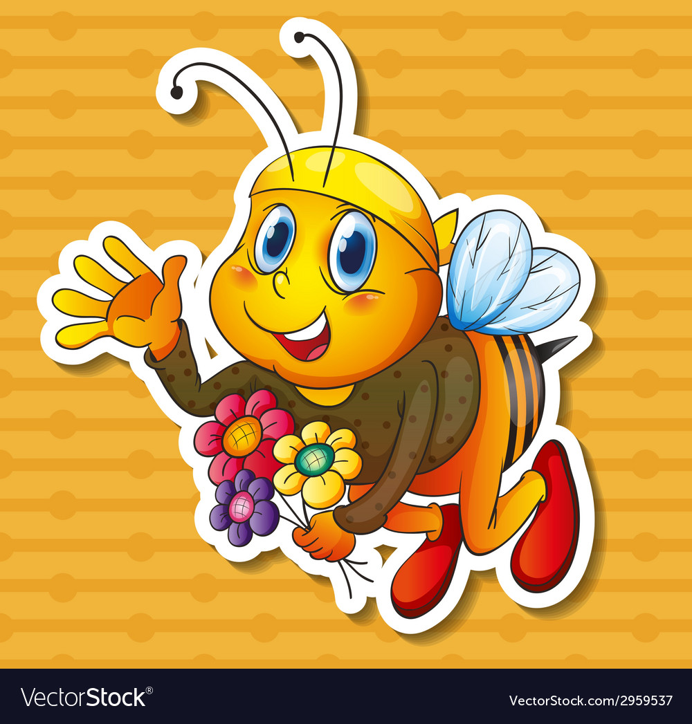 Bee and flowers vector | Price: 1 Credit (USD $1)
