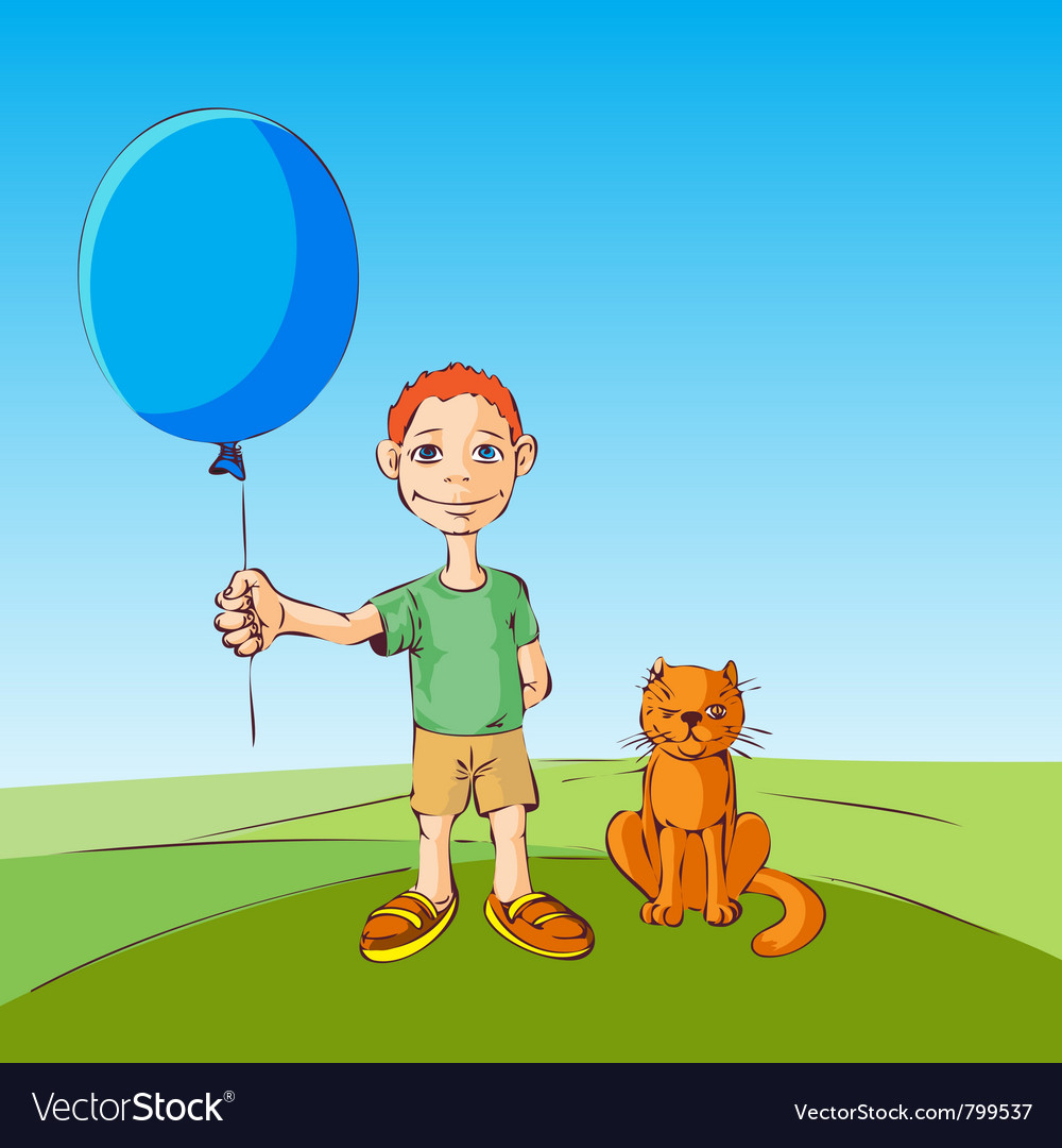 Boy and the cat walk with inflatable ball illustra vector | Price: 1 Credit (USD $1)